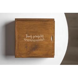 Rustykalne pudełko 10x15 z przegródką i Twoim grawerem